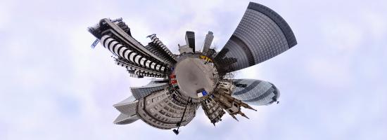 A bird's eye view of a city skyline